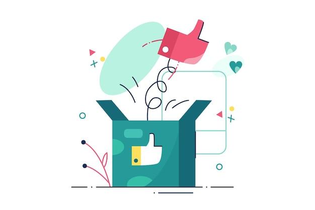 Mano che mostra come segno. pollice in alto simbolo per come, approvazione, stile piatto raccomandazione. concetto di networking e blog.