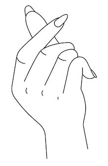 Mano che mostra segno di stringere, braccio isolato con dita e unghie