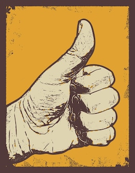 Mano che mostra il simbolo come fare il gesto del pollice in su