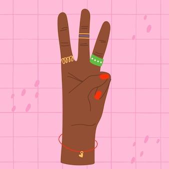 Mano che mostra un'illustrazione colorata di tre dita mano che conta tre mano con 3 dita sollevate