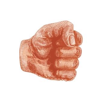 Segno della mano pugno chiuso. illustrazione di tratteggio dell'annata di colore di vettore isolata su un fondo bianco.