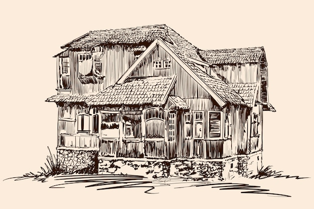 Schizzo a mano su fondo beige vecchia casa rustica in legno su una fondazione in pietra con tetto di tegole