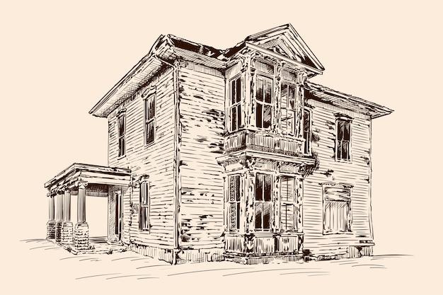 Schizzo a mano sul colore beige. vecchia casa in legno rustica abbandonata su una fondazione in pietra. Vettore Premium