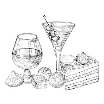Illustrazione di bevande alcoliche, cioccolato e torte abbozzato a mano