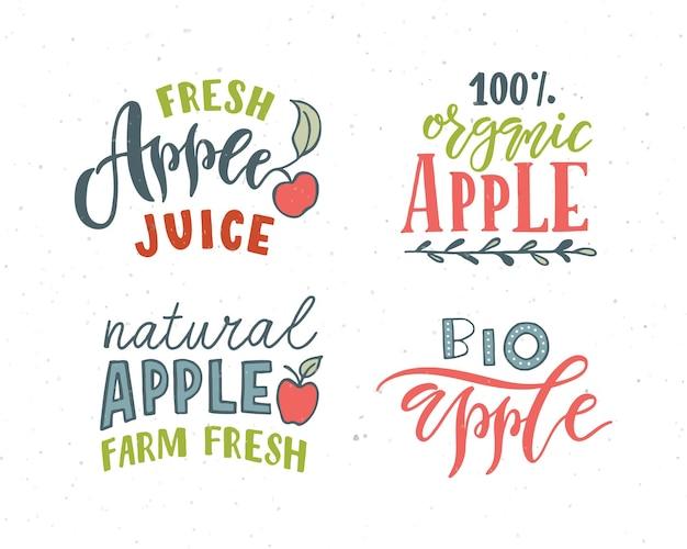 Tipografia scritta a mano apple lettering concetto per il prodotto naturale degli alimenti biologici del mercato degli agricoltori