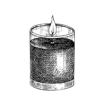 Schizzo dell'illustrazione della candela aromatica disegnata a mano della candela di paraffina accesa