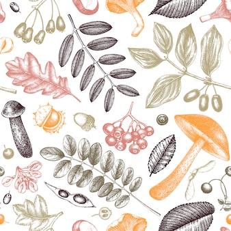 Modello senza cuciture di piante autunnali abbozzato a mano. foglie, bacche e funghi sfondo botanico. sfondo giardino autunnale disegnato a mano. piante forestali d'epoca, funghi, schizzi di foglie cadute.