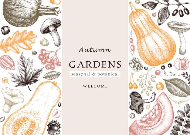 Autunno abbozzato a mano in colori vintage. modello botanico elegante e alla moda con foglie autunnali, zucche, bacche, schizzi di funghi. perfetto per inviti, biglietti, volantini, menu, imballaggi.