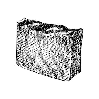 Illustrazione di sapone al cioccolato abbozzato a mano disegno di saponetta disegnata a mano