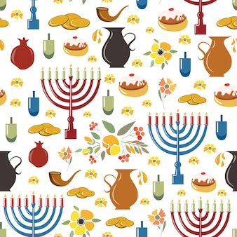 Modello senza cuciture happy hanukkah abbozzato a mano con set di oggetti modello di sfondo happy hanukkah