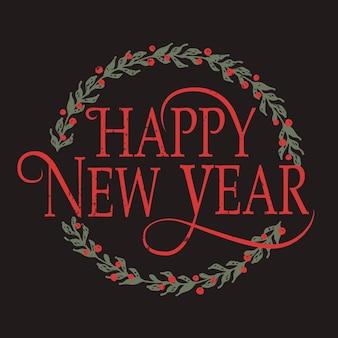 Distintivo e icona di felice anno nuovo abbozzato a mano. modello di logo di felice anno nuovo. modello di carta di felice anno nuovo. felice anno nuovo banner, volantino