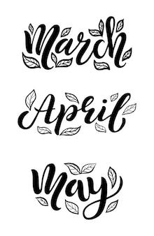 Marzo, aprile, maggio testo abbozzato a mano con foglie come logotipo, distintivo e icona. cartolina, biglietto, invito, volantino, modello di banner. tipografia scritta isolata su priorità bassa bianca. illustrazione vettoriale