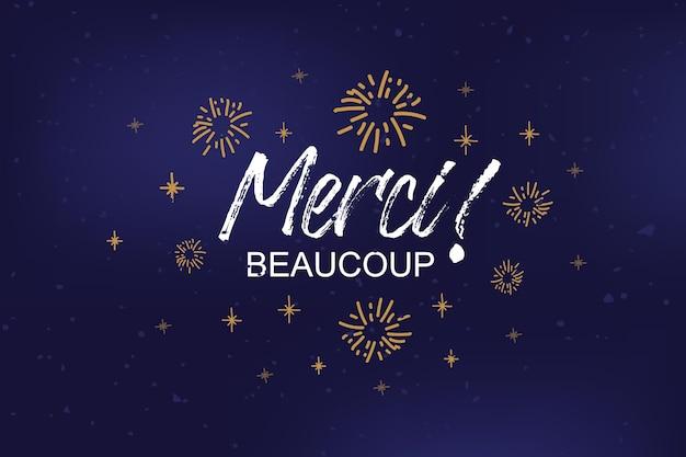 Testo merci beaucoup abbozzato a mano come badge logo e poster di invito cartolina merci icona