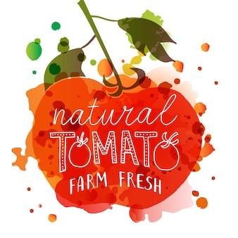 Disegnato a mano natural tomato farm fresh lettering tipografia concetto mercato degli agricoltori cibo biologico