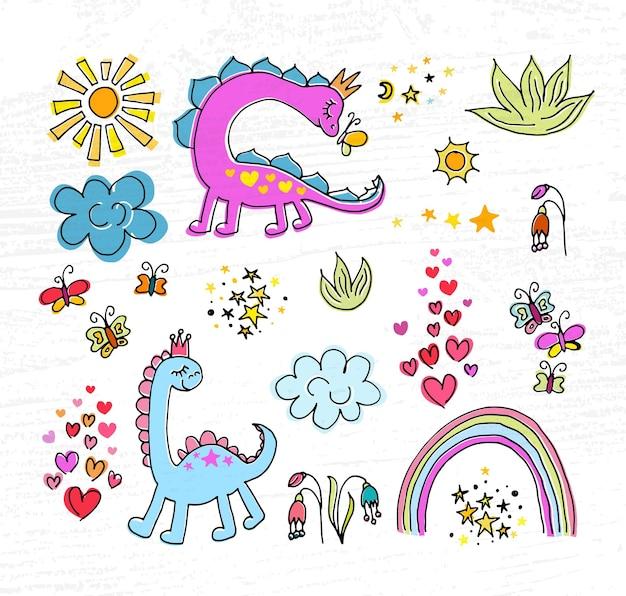 Set di illustrazioni vettoriali di dino rosa abbozzato a mano concetto per la stampa di magliette per bambinidisegno di dino rosa