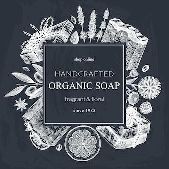 Disegno a mano della corona di sapone abbozzato sulla lavagna materiali aromatici per sapone di profumeria cosmetica