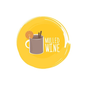 Elemento tipografico abbozzato a mano con vin brulé e testo su sfondo lavagna.