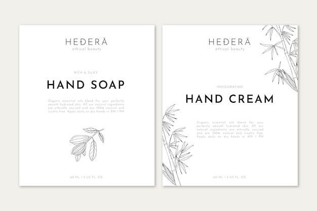 Sapone per le mani e crema con illustrazione di arte al tratto