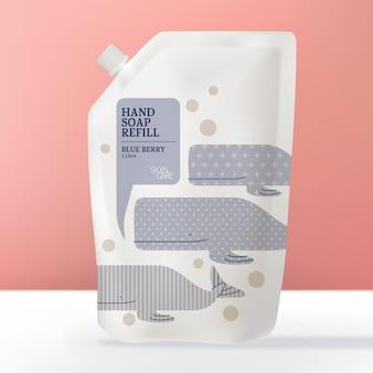 Disinfettante per sapone per le mani o pacchetto di ricarica di detersivo per lavaggio o borsa tema del modello per bambini della balena del fumetto