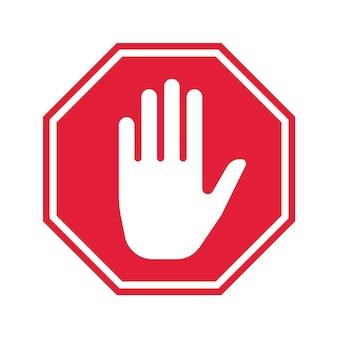 Icona di arresto della mano. segno di divieto di vettore. design semplice dell'interfaccia utente.