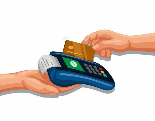 Carta di credito a scorrimento a mano sul dispositivo di pagamento mobile banking