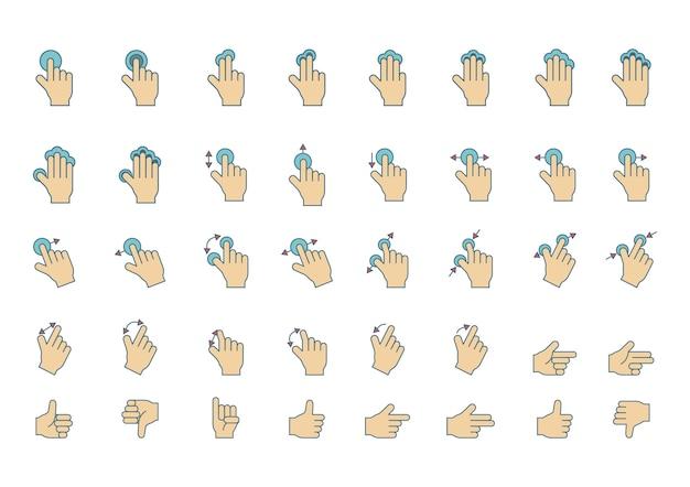 Segno di gesto di mano swipe