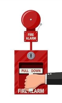 Sistema di allarme antincendio manuale. attrezzature antincendio.