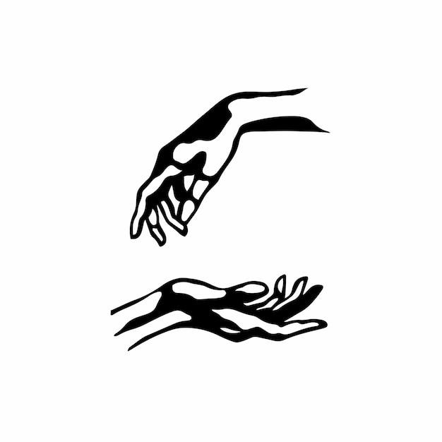 Simbolo della mano logo tattoo design stencil vector illustration