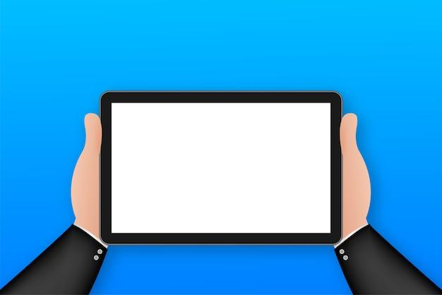 Mano sul tablet in stile cartone animato. utilizzando tablet pc digitale.