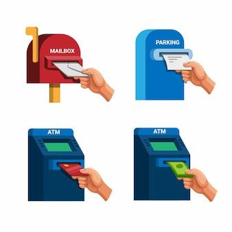 La mano prende la carta di credito dei soldi della posta e il biglietto di parcheggio insieme