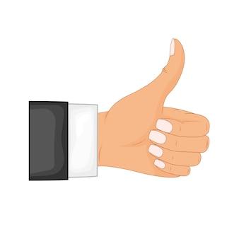Mano pollice in alto. feedback positivo, buoni gesti, mi piace. stile piatto