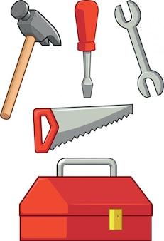 Strumento manuale: martello, cacciavite, chiave inglese, sega e cassetta degli attrezzi