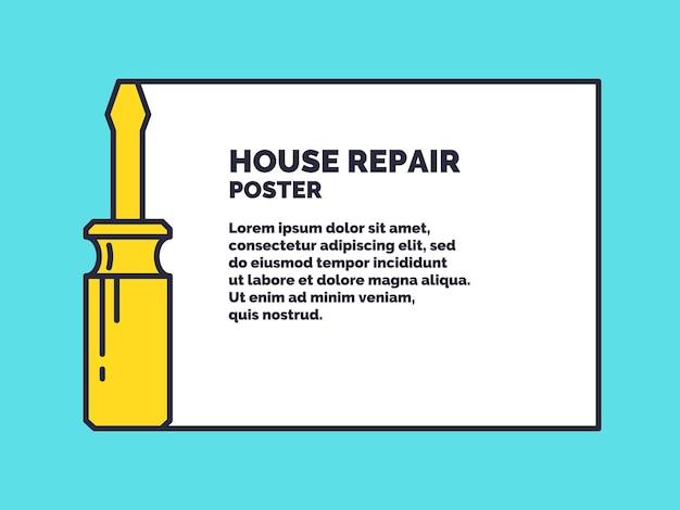 Strumenti manuali per la ristrutturazione e la costruzione della casa. poster di riparazione della casa lineare. illustrazione vettoriale e modello.