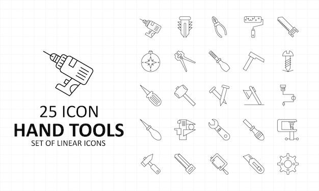 Icone perfette del pixel dello strato dell'icona degli attrezzi per bricolage