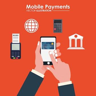 Dataphone della banca della carta di credito del cellulare del tocco della mano