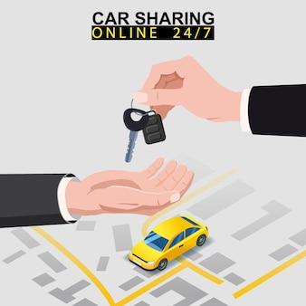 La mano trasferisce le chiavi dell'auto a un'altra mano con il percorso della mappa della città