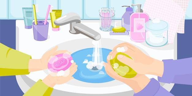 Composizione piatta per il lavaggio delle mani con vista sul lavandino del bagno e mani umane con illustrazione di sapone e schiuma