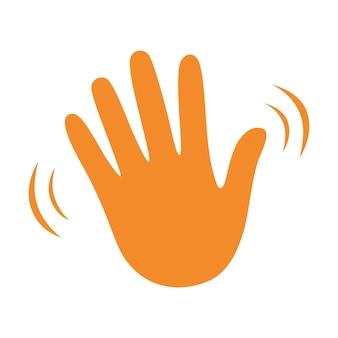 Onda della mano che saluta icona vettore piatto gesto ciao o ciao. segno di saluto.
