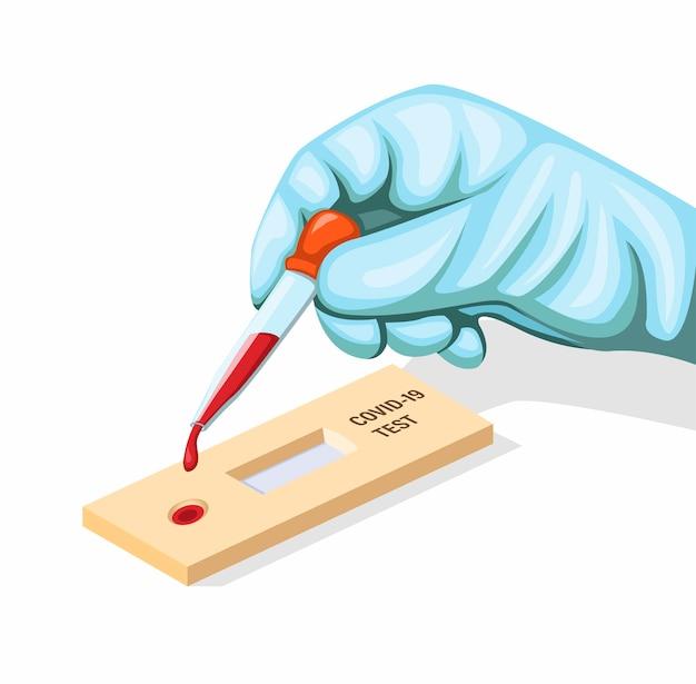 Il guanto di usura della mano ha messo il campione di sangue al concetto di test rapido covid-19 nell'illustrazione del fumetto isolata nel fondo bianco