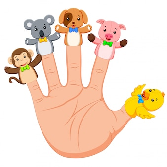 Mano che indossa 5 marionette da dito animale