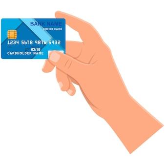 Mano con l'icona di vettore della carta di credito della banca isolata su white