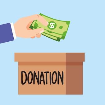 Mano con denaro contante dando donazione fumetto illustrazione