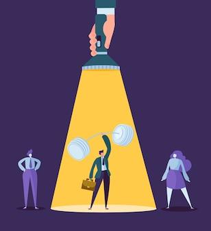 Mano con la torcia elettrica che indica al carattere dell'uomo d'affari con il bilanciere. reclutamento, concetto di leadership, risorse umane.