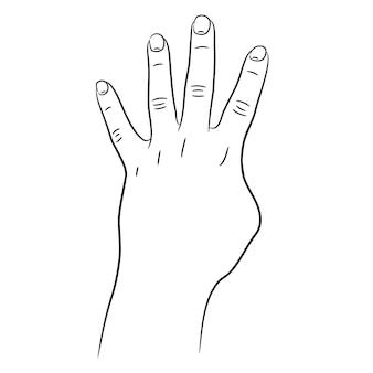 Mano con quattro dita sollevate schizzo
