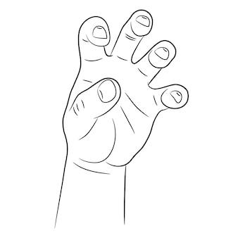 Mano con afferrare le dita storte schizzo