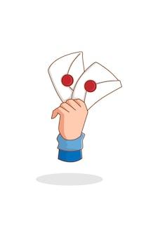 Mano con la lettera nell'illustrazione del fumetto della giornata mondiale della posta