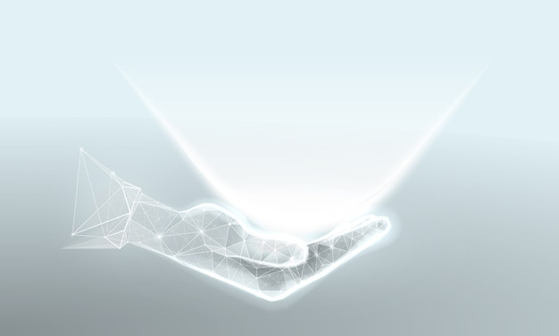 Mano con luce in stile wireframe poligonale