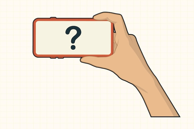 Mano con il telefono cellulare guardando il concetto di gesti video Vettore Premium