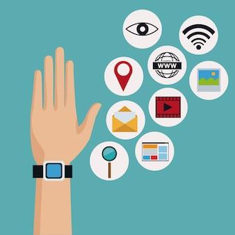 Mano con smartwatch moderno con icone tecnologia wireless
