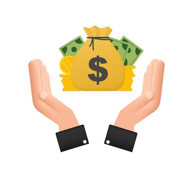 Mano con le icone di finanza della borsa dei soldi e della fattura della moneta. investimento finanziario aziendale. sfondo vettoriale.